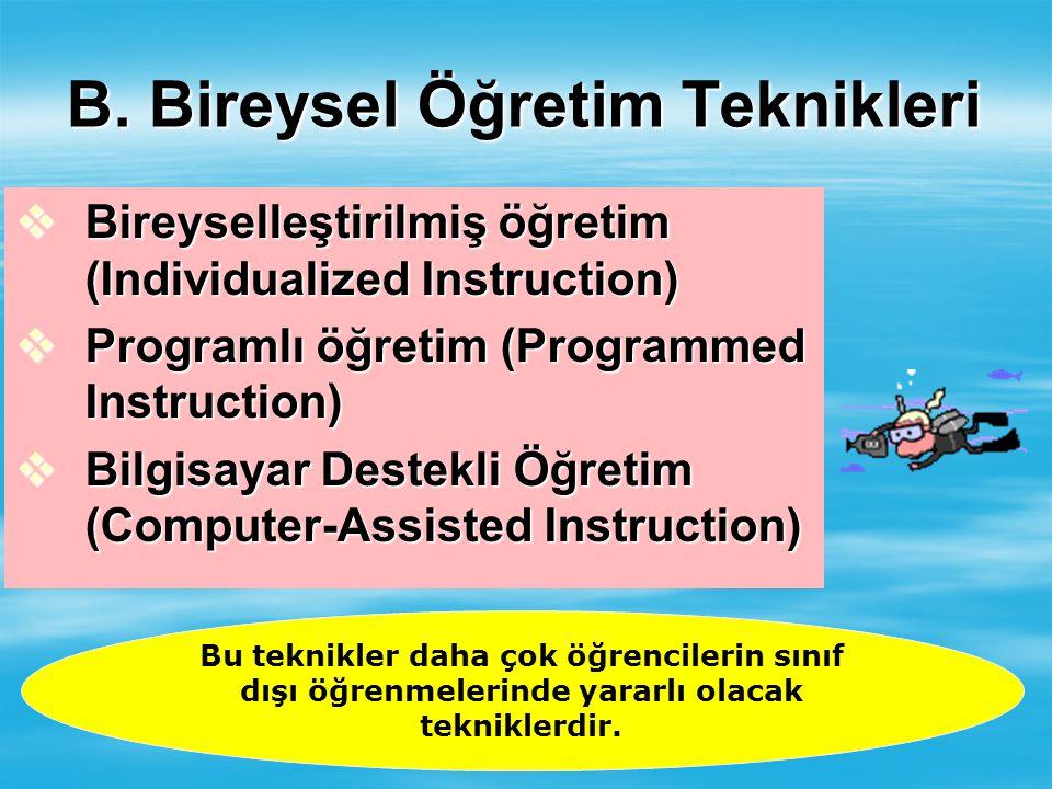 B. Bireysel Öğretim Teknikleri