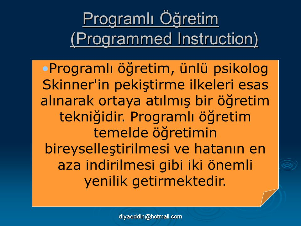 Programlı Öğretim (Programmed Instruction)