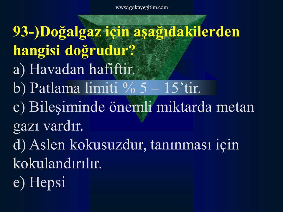 93-)Doğalgaz için aşağıdakilerden hangisi doğrudur