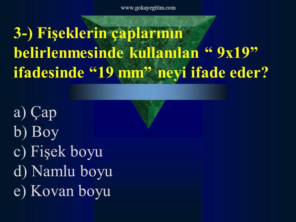 www.gokayegitim.com 3-) Fişeklerin çaplarının belirlenmesinde kullanılan 9x19 ifadesinde 19 mm neyi ifade eder