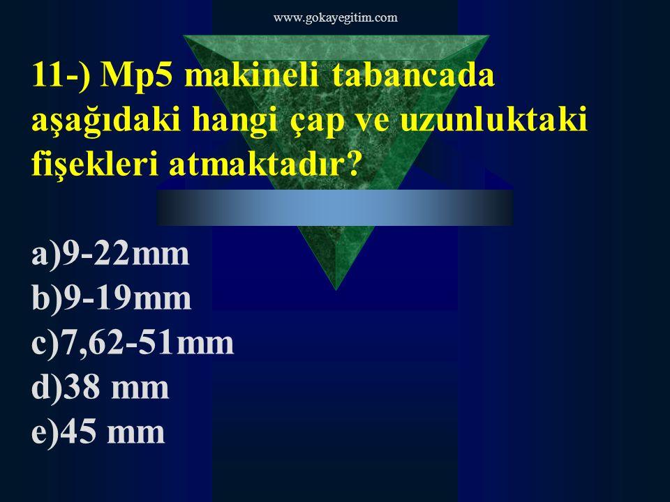 www.gokayegitim.com 11-) Mp5 makineli tabancada aşağıdaki hangi çap ve uzunluktaki fişekleri atmaktadır