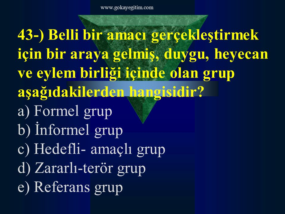 c) Hedefli- amaçlı grup d) Zararlı-terör grup e) Referans grup