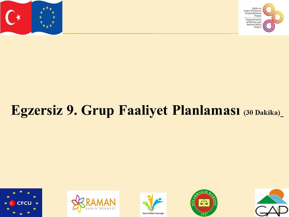 Egzersiz 9. Grup Faaliyet Planlaması (30 Dakika)