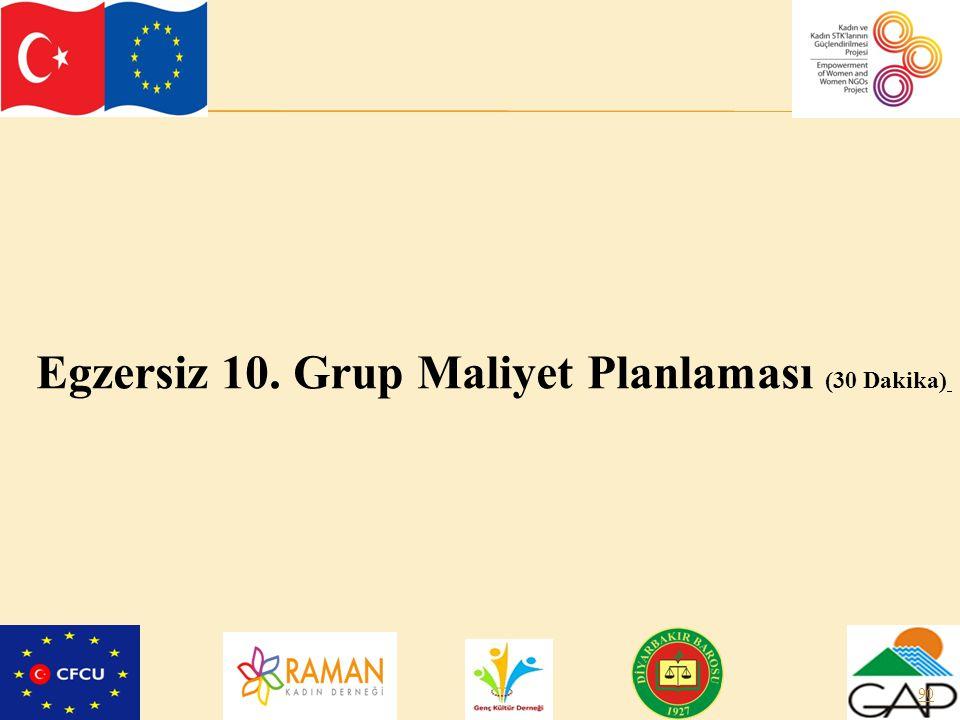 Egzersiz 10. Grup Maliyet Planlaması (30 Dakika)