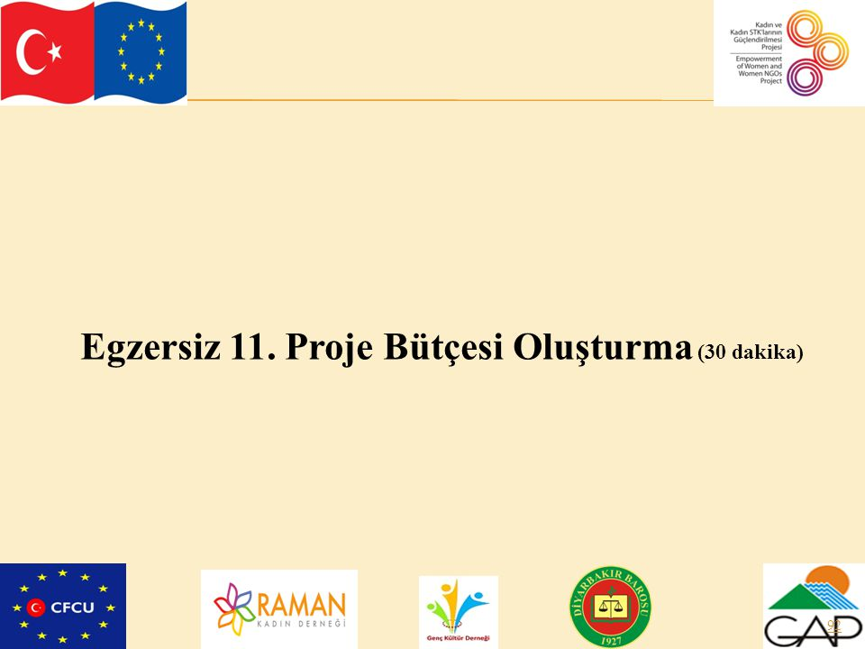 Egzersiz 11. Proje Bütçesi Oluşturma (30 dakika)