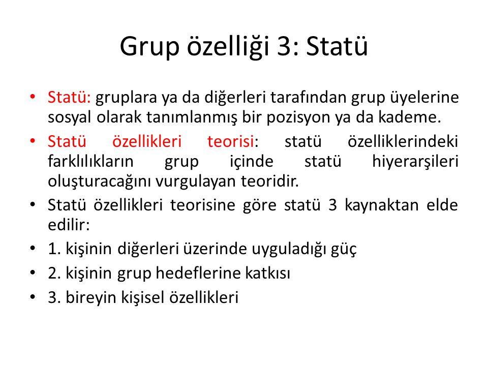 Grup özelliği 3: Statü Statü: gruplara ya da diğerleri tarafından grup üyelerine sosyal olarak tanımlanmış bir pozisyon ya da kademe.