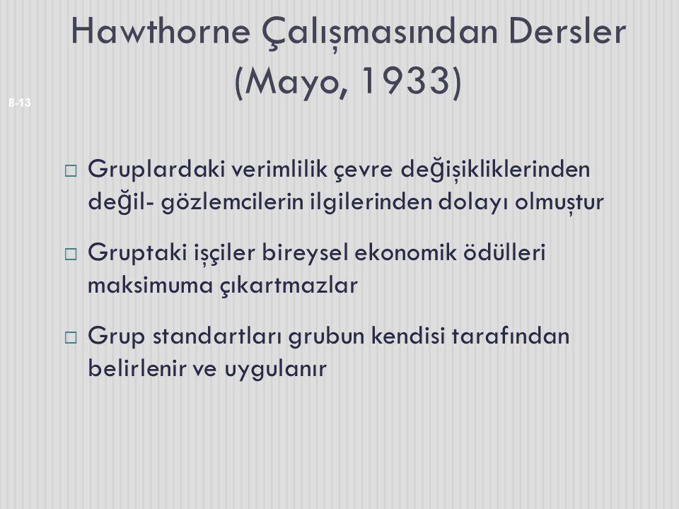 Hawthorne Çalışmasından Dersler (Mayo, 1933)