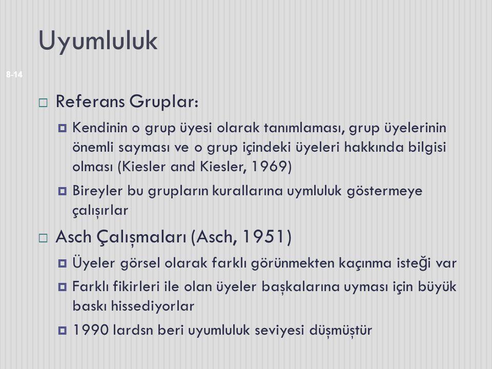 Uyumluluk Referans Gruplar: Asch Çalışmaları (Asch, 1951)
