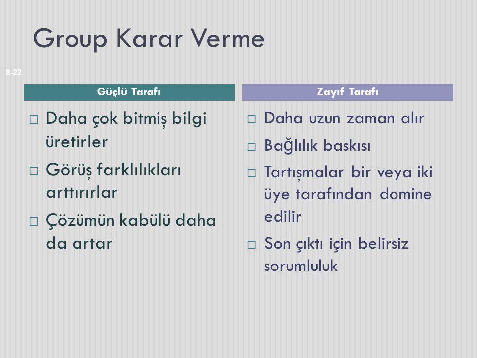 Group Karar Verme Daha çok bitmiş bilgi üretirler