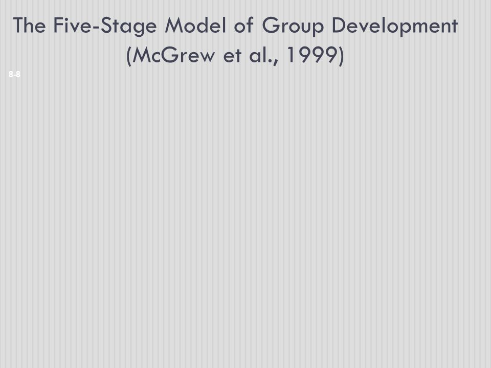 The Five-Stage Model of Group Development (McGrew et al., 1999)