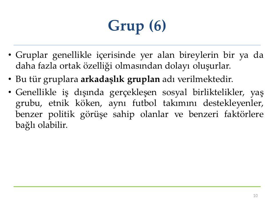Grup (6) Gruplar genellikle içerisinde yer alan bireylerin bir ya da daha fazla ortak özelliği olmasından dolayı oluşurlar.