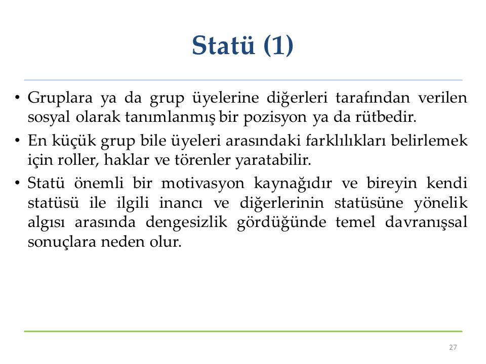 Statü (1) Gruplara ya da grup üyelerine diğerleri tarafından verilen sosyal olarak tanımlanmış bir pozisyon ya da rütbedir.