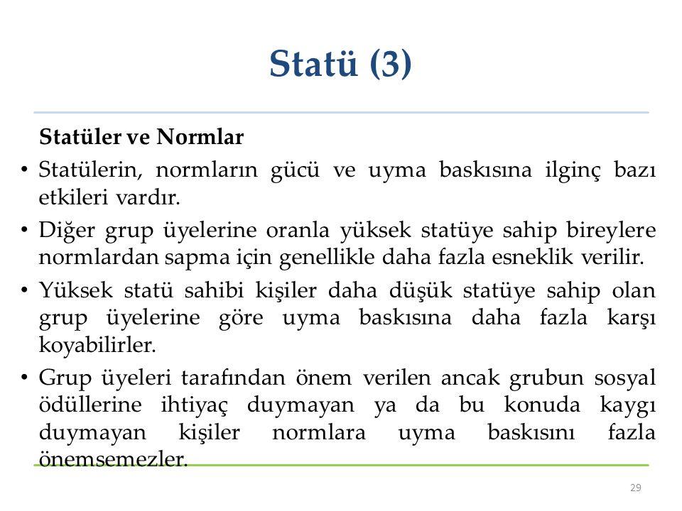 Statü (3) Statüler ve Normlar