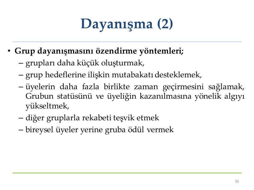Dayanışma (2) Grup dayanışmasını özendirme yöntemleri;