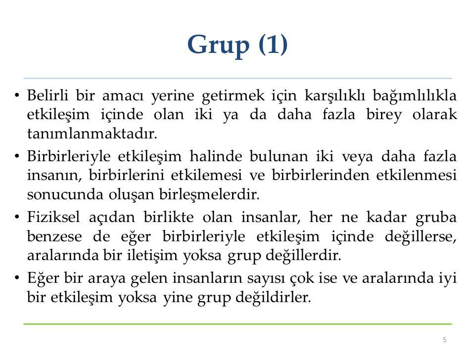 Grup (1) Belirli bir amacı yerine getirmek için karşılıklı bağımlılıkla etkileşim içinde olan iki ya da daha fazla birey olarak tanımlanmaktadır.