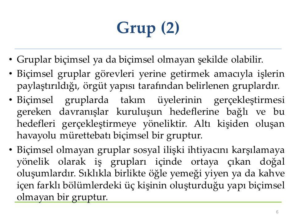 Grup (2) Gruplar biçimsel ya da biçimsel olmayan şekilde olabilir.