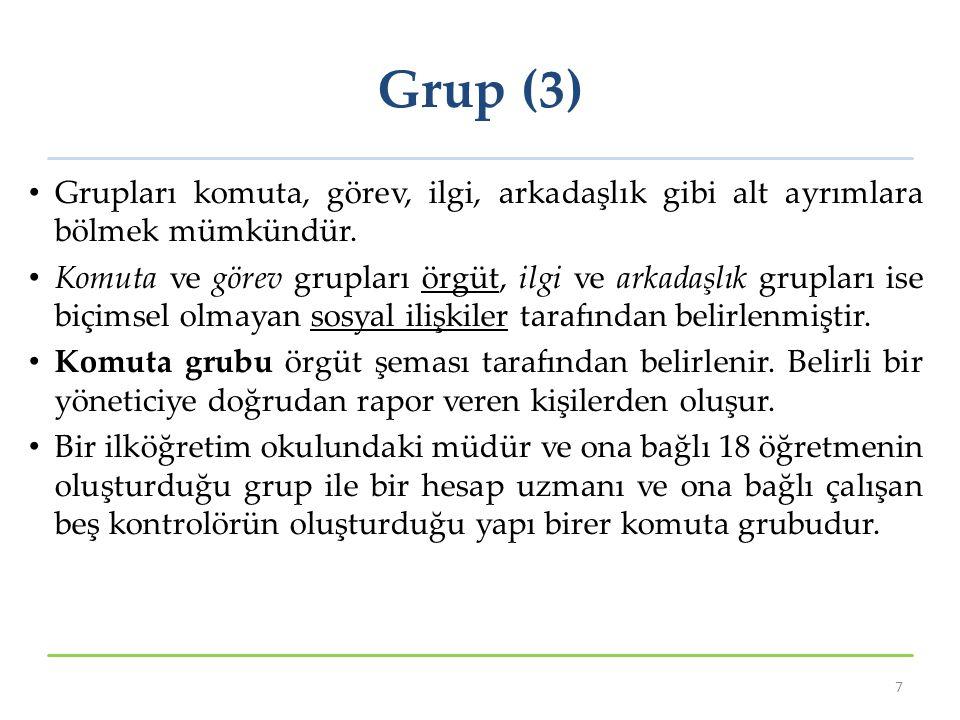 Grup (3) Grupları komuta, görev, ilgi, arkadaşlık gibi alt ayrımlara bölmek mümkündür.