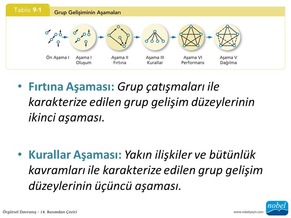 Fırtına Aşaması: Grup çatışmaları ile karakterize edilen grup gelişim düzeylerinin ikinci aşaması.