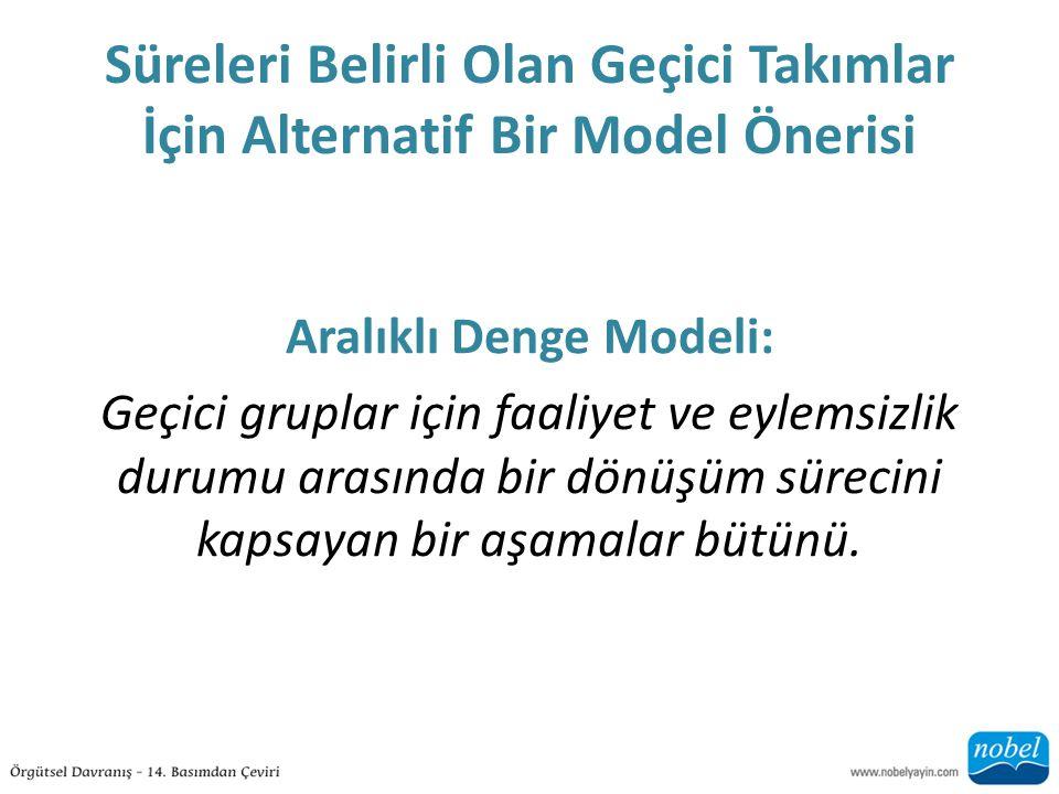 Süreleri Belirli Olan Geçici Takımlar İçin Alternatif Bir Model Önerisi