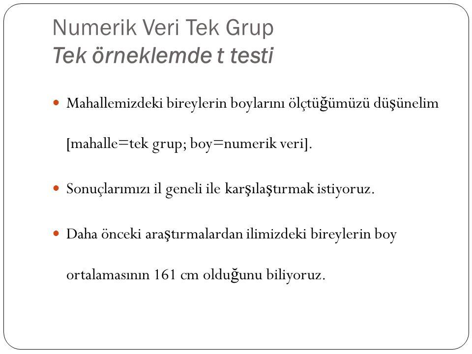 Numerik Veri Tek Grup Tek örneklemde t testi