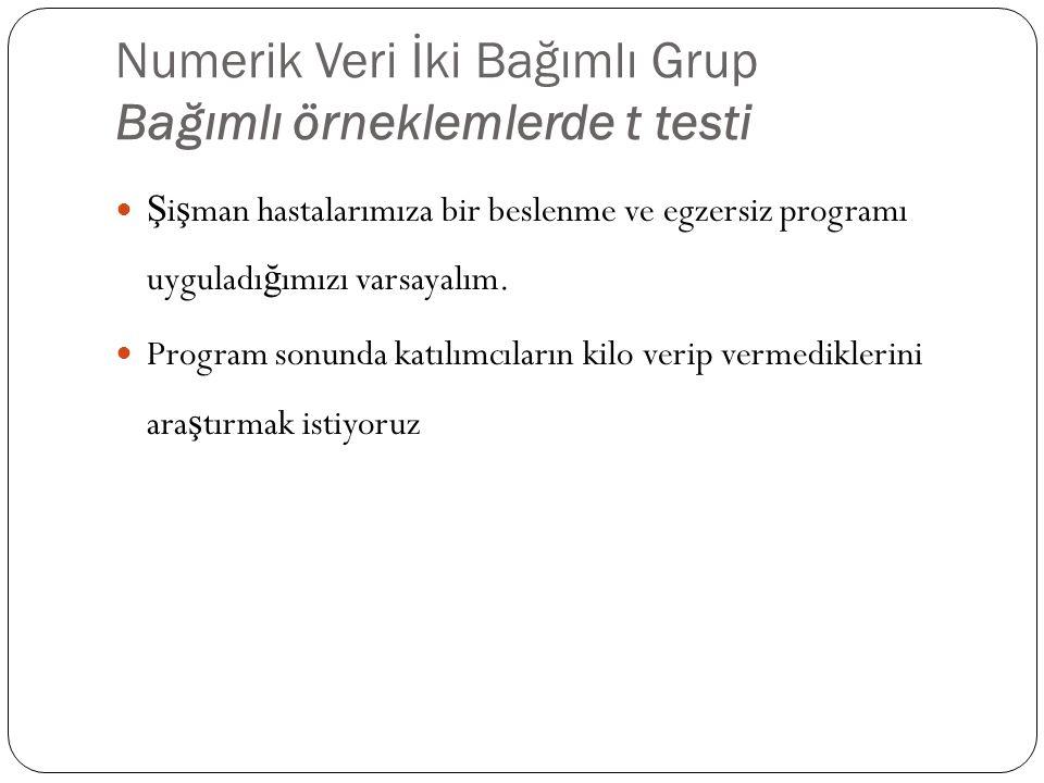 Numerik Veri İki Bağımlı Grup Bağımlı örneklemlerde t testi