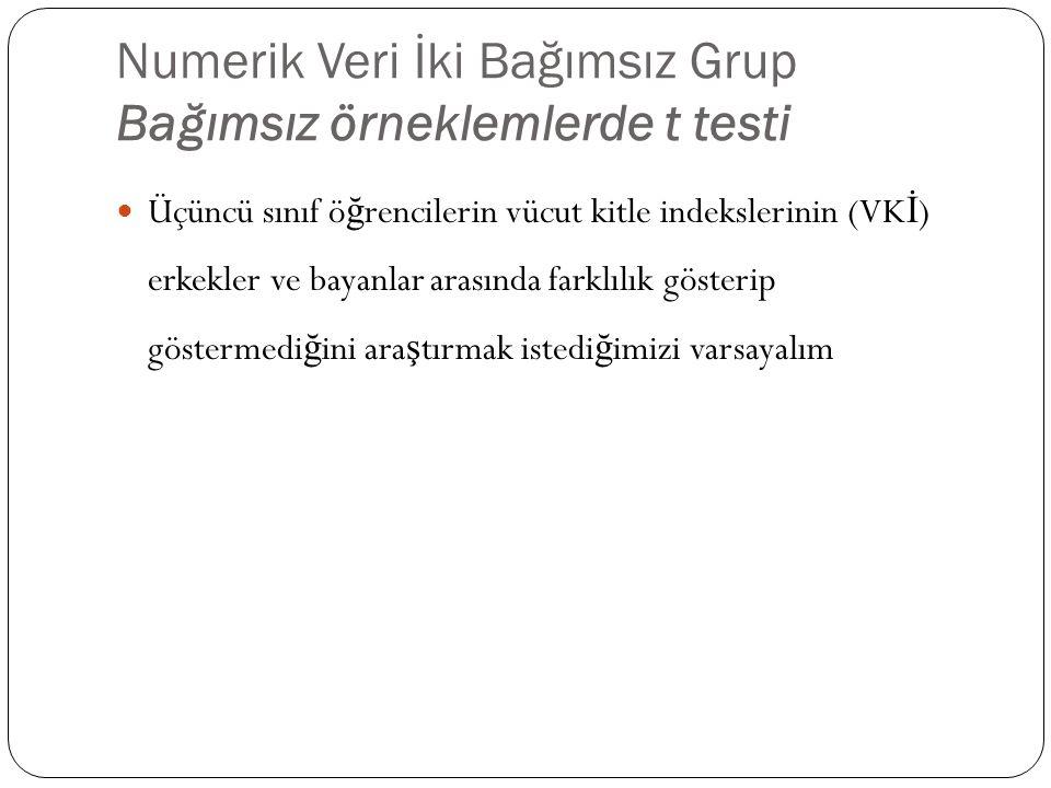 Numerik Veri İki Bağımsız Grup Bağımsız örneklemlerde t testi