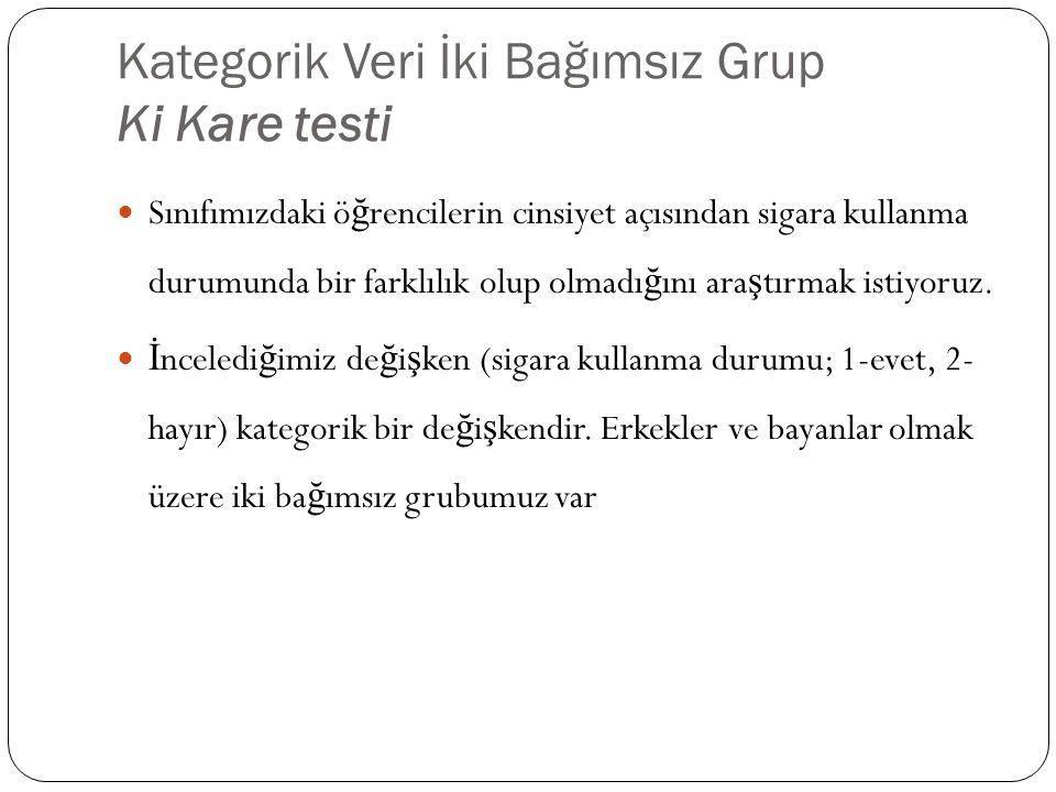 Kategorik Veri İki Bağımsız Grup Ki Kare testi
