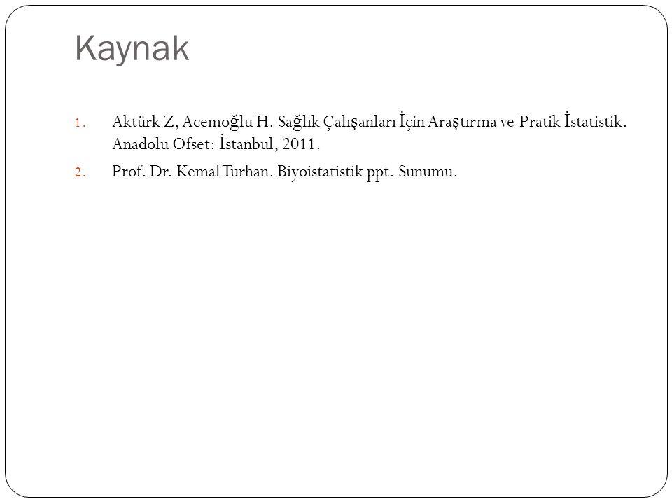 Kaynak Aktürk Z, Acemoğlu H. Sağlık Çalışanları İçin Araştırma ve Pratik İstatistik. Anadolu Ofset: İstanbul, 2011.