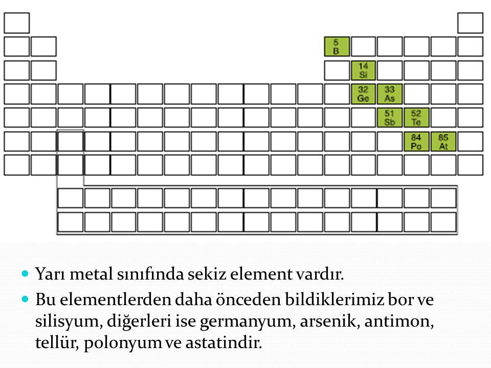 Yarı metal sınıfında sekiz element vardır.