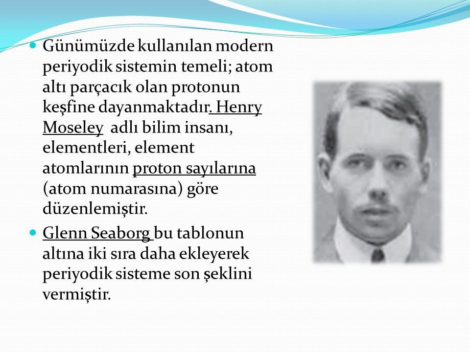 Günümüzde kullanılan modern periyodik sistemin temeli; atom altı parçacık olan protonun keşfine dayanmaktadır. Henry Moseley adlı bilim insanı, elementleri, element atomlarının proton sayılarına (atom numarasına) göre düzenlemiştir.