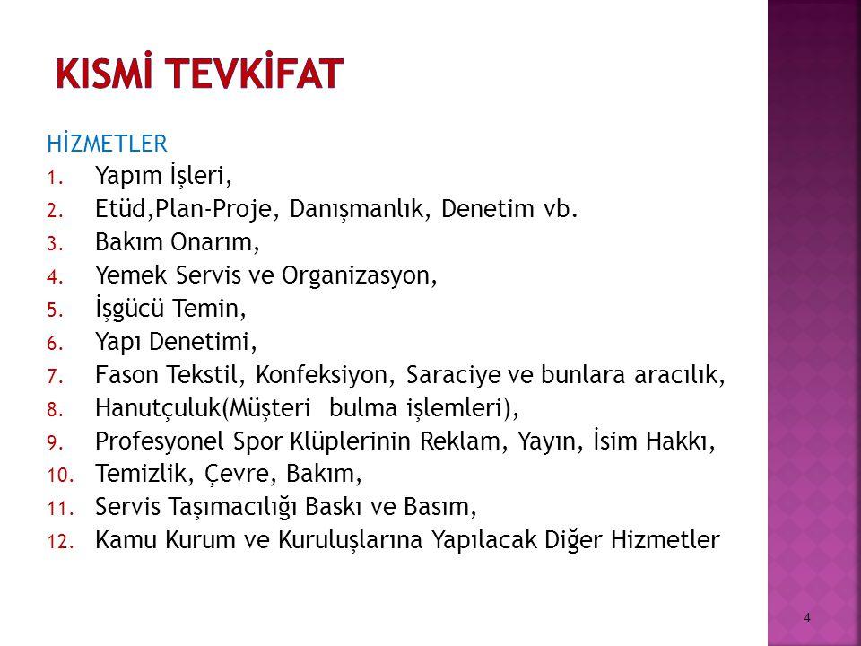 KISMİ TEVKİFAT Yapım İşleri, Etüd,Plan-Proje, Danışmanlık, Denetim vb.
