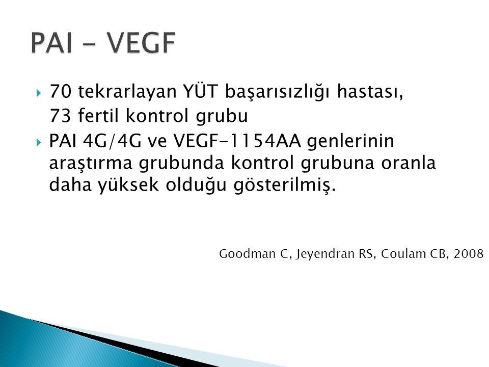 PAI - VEGF 70 tekrarlayan YÜT başarısızlığı hastası,