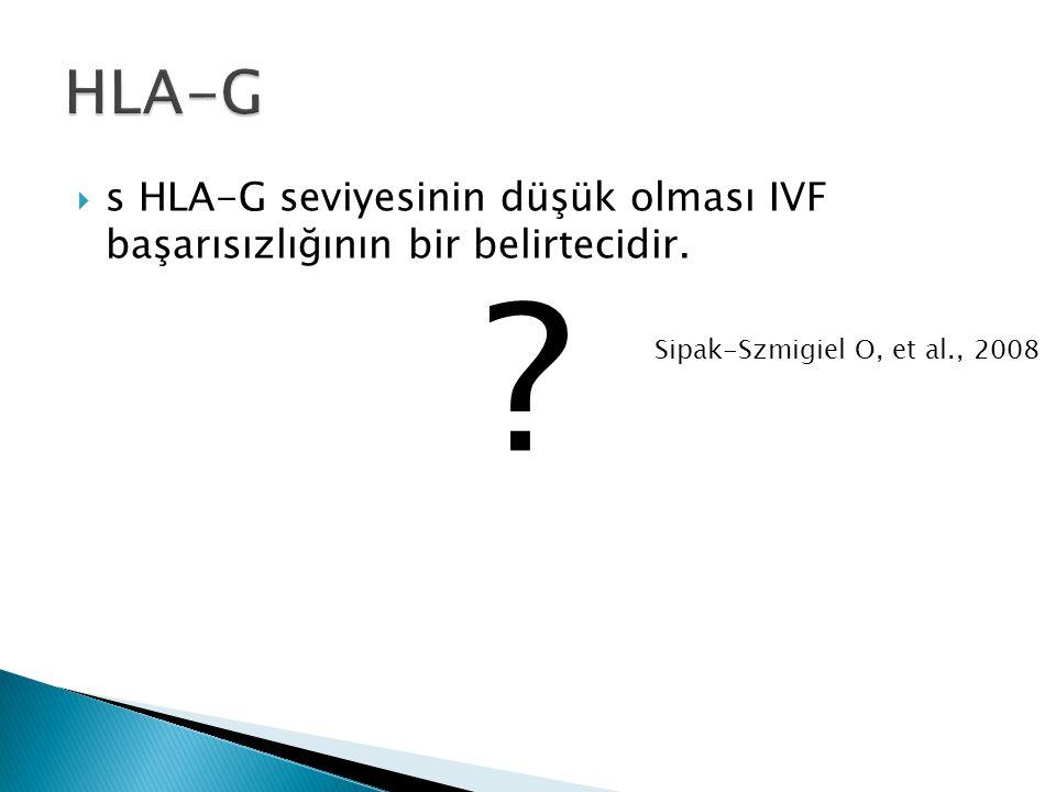 HLA-G s HLA-G seviyesinin düşük olması IVF başarısızlığının bir belirtecidir.