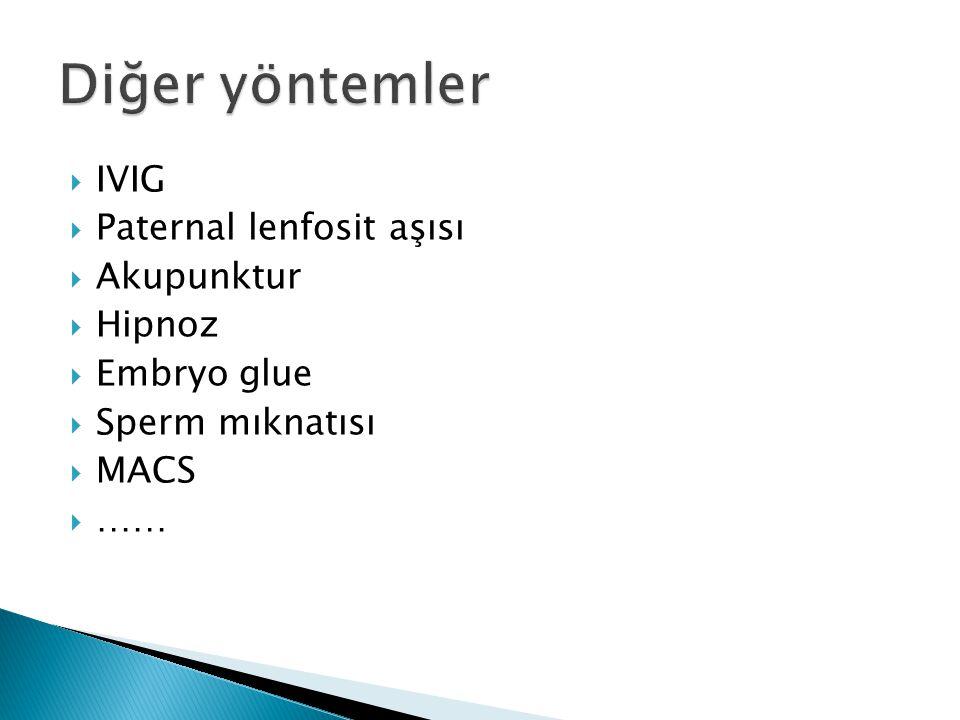 Diğer yöntemler IVIG Paternal lenfosit aşısı Akupunktur Hipnoz