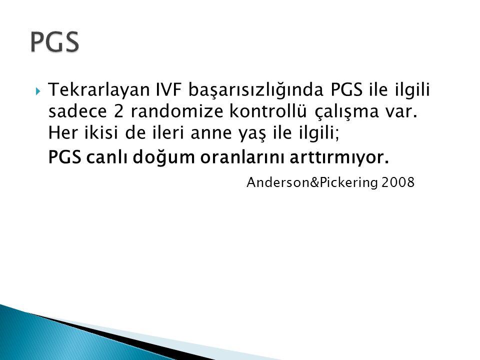 PGS Tekrarlayan IVF başarısızlığında PGS ile ilgili sadece 2 randomize kontrollü çalışma var. Her ikisi de ileri anne yaş ile ilgili;