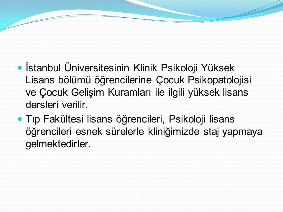 İstanbul Üniversitesinin Klinik Psikoloji Yüksek Lisans bölümü öğrencilerine Çocuk Psikopatolojisi ve Çocuk Gelişim Kuramları ile ilgili yüksek lisans dersleri verilir.