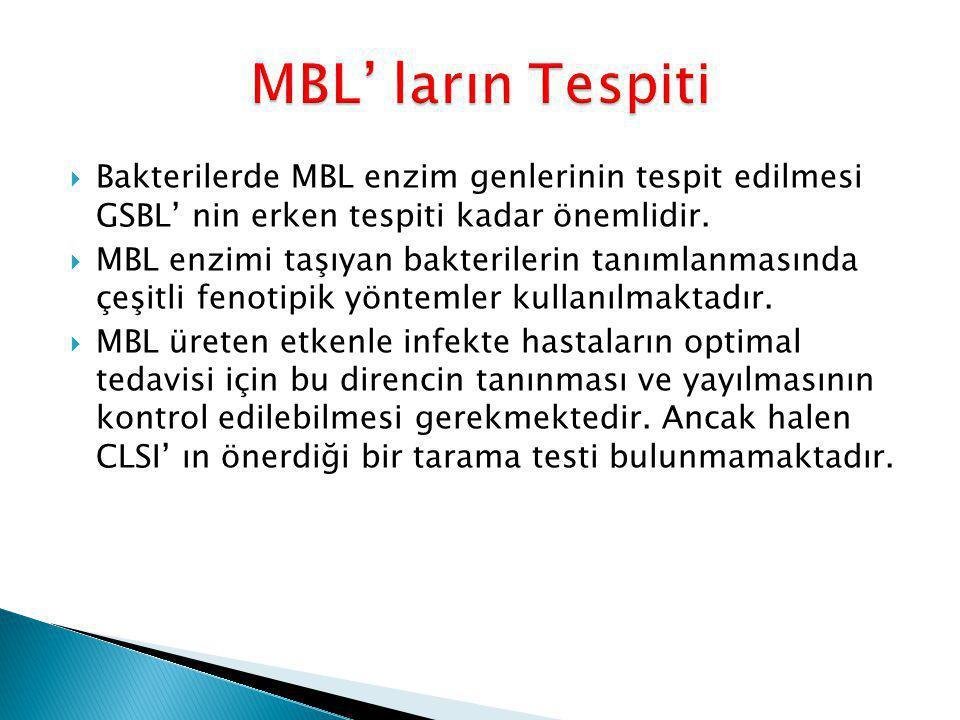 MBL' ların Tespiti Bakterilerde MBL enzim genlerinin tespit edilmesi GSBL' nin erken tespiti kadar önemlidir.