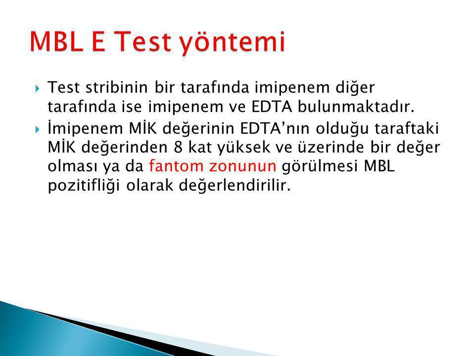 MBL E Test yöntemi Test stribinin bir tarafında imipenem diğer tarafında ise imipenem ve EDTA bulunmaktadır.