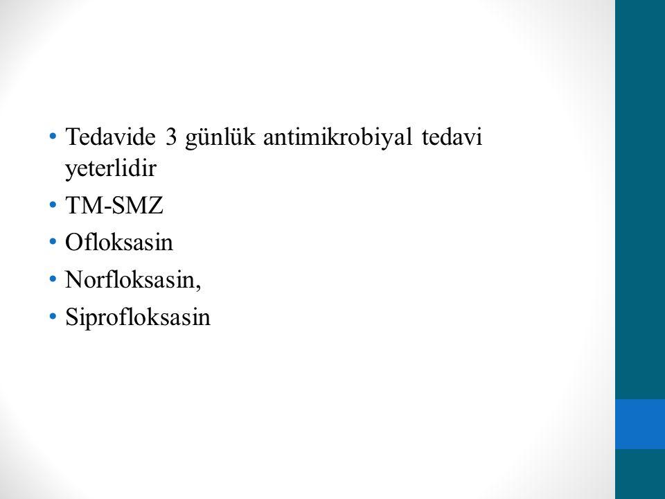 Tedavide 3 günlük antimikrobiyal tedavi yeterlidir TM-SMZ Ofloksasin