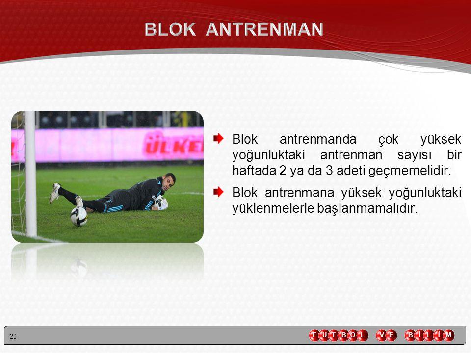 BLOK ANTRENMAN Blok antrenmanda çok yüksek yoğunluktaki antrenman sayısı bir haftada 2 ya da 3 adeti geçmemelidir.