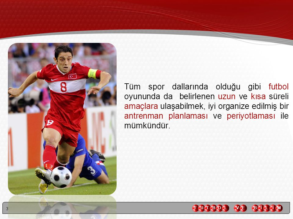 Tüm spor dallarında olduğu gibi futbol oyununda da belirlenen uzun ve kısa süreli amaçlara ulaşabilmek, iyi organize edilmiş bir antrenman planlaması ve periyotlaması ile mümkündür.
