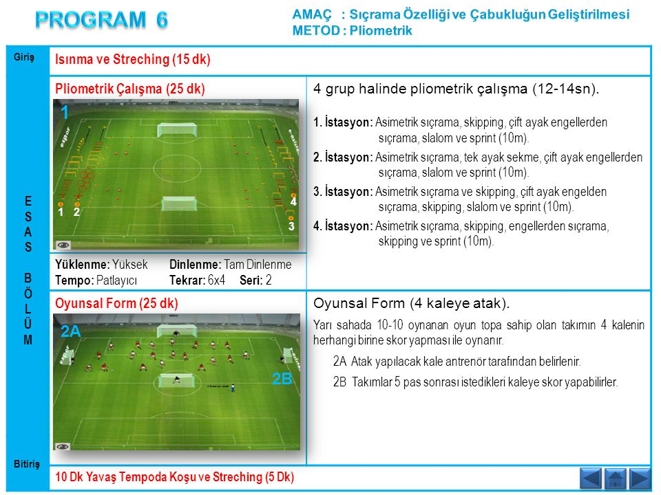 PROGRAM 6 1 2A 2B Isınma ve Streching (15 dk)