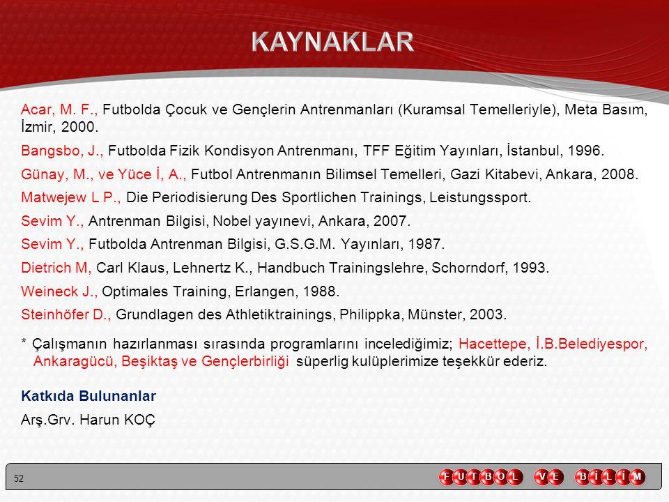 KAYNAKLAR Acar, M. F., Futbolda Çocuk ve Gençlerin Antrenmanları (Kuramsal Temelleriyle), Meta Basım, İzmir, 2000.