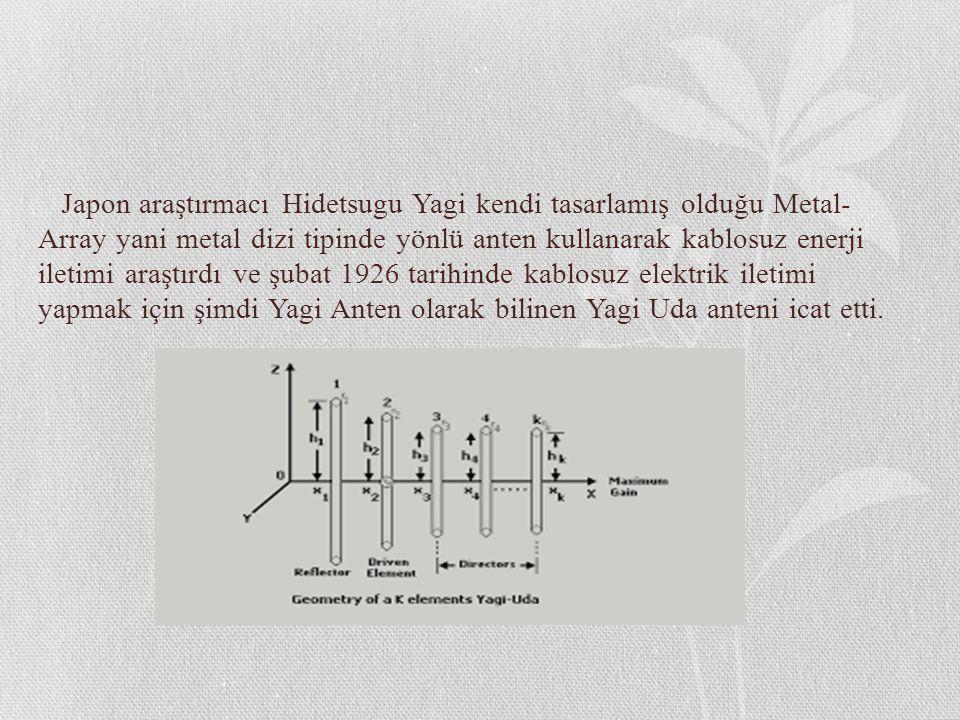 Japon araştırmacı Hidetsugu Yagi kendi tasarlamış olduğu Metal- Array yani metal dizi tipinde yönlü anten kullanarak kablosuz enerji iletimi araştırdı ve şubat 1926 tarihinde kablosuz elektrik iletimi yapmak için şimdi Yagi Anten olarak bilinen Yagi Uda anteni icat etti.