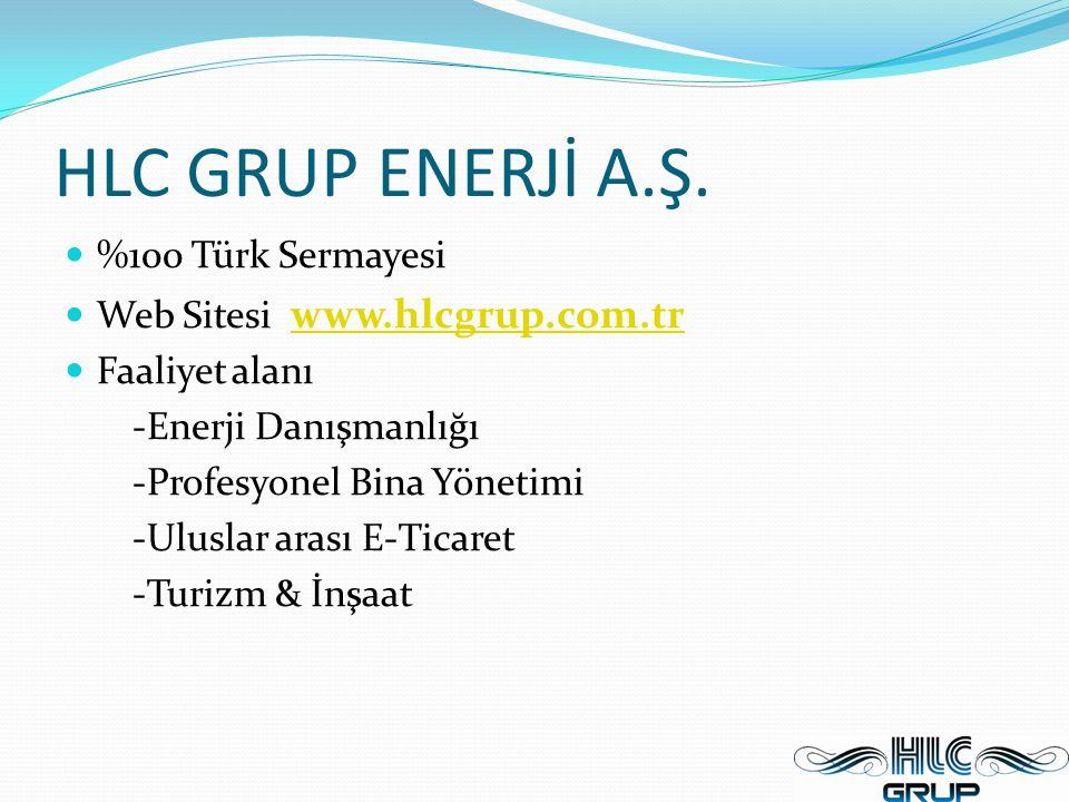 HLC GRUP ENERJİ A.Ş. %100 Türk Sermayesi Web Sitesi www.hlcgrup.com.tr