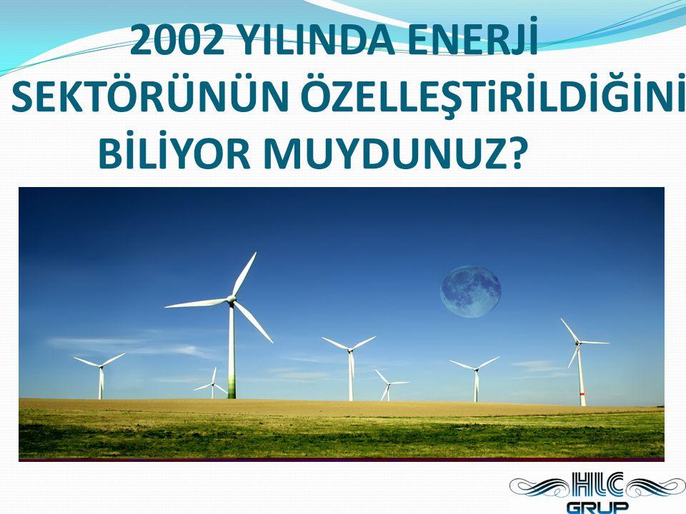 2002 YILINDA ENERJİ SEKTÖRÜNÜN ÖZELLEŞTiRİLDİĞİNİ BİLİYOR MUYDUNUZ
