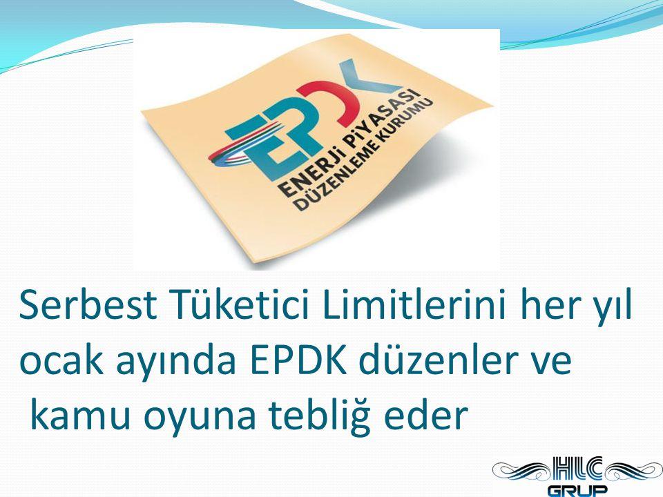 Serbest Tüketici Limitlerini her yıl ocak ayında EPDK düzenler ve kamu oyuna tebliğ eder