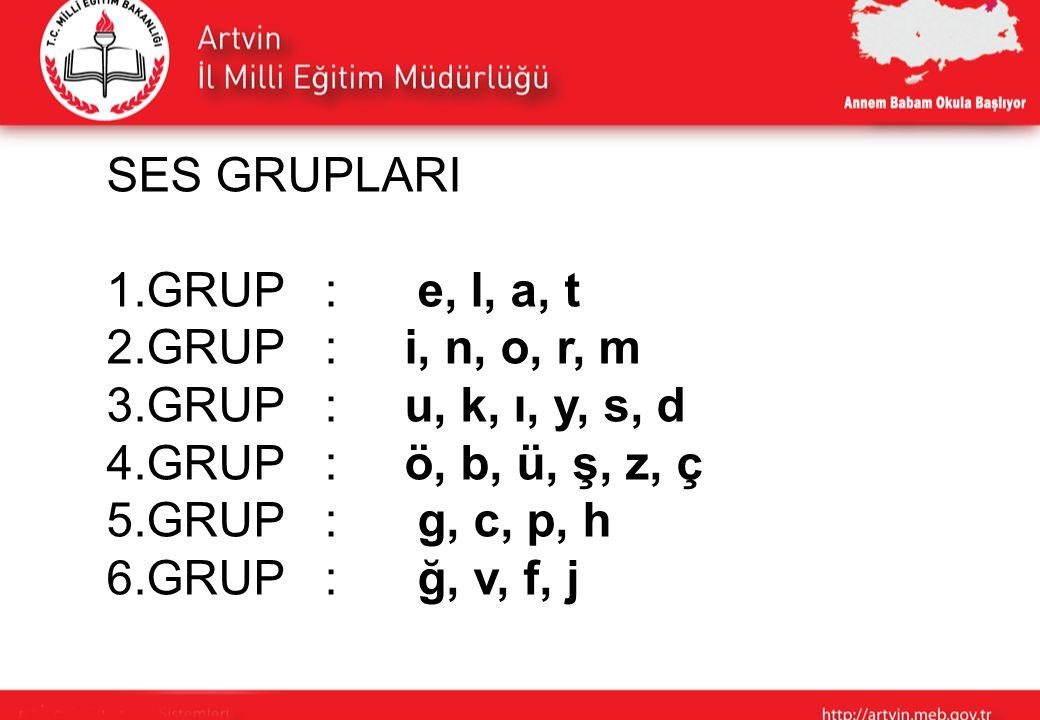 SES GRUPLARI 1. GRUP : e, l, a, t 2. GRUP : i, n, o, r, m 3