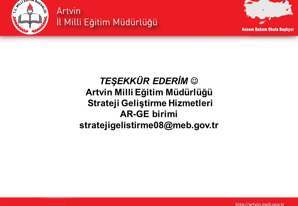 Artvin Milli Eğitim Müdürlüğü Strateji Geliştirme Hizmetleri