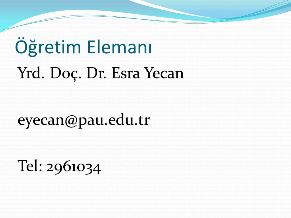 Öğretim Elemanı Yrd. Doç. Dr. Esra Yecan eyecan@pau.edu.tr Tel: 2961034